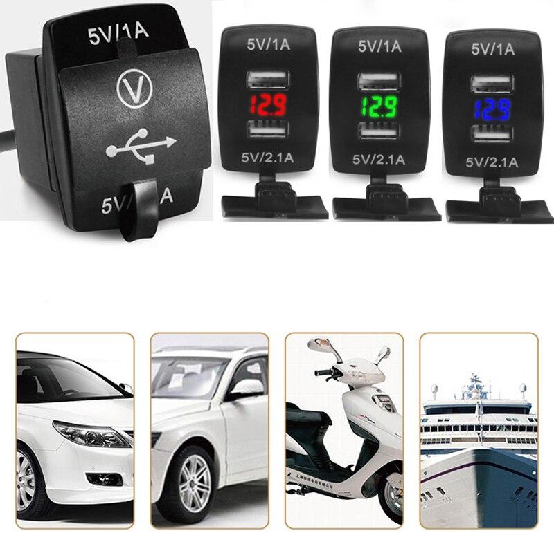 12V/24V 3.1A Car Motorcycle Dual USB LED Charger Socket Voltage Voltmeter Panel G08 Drop ship