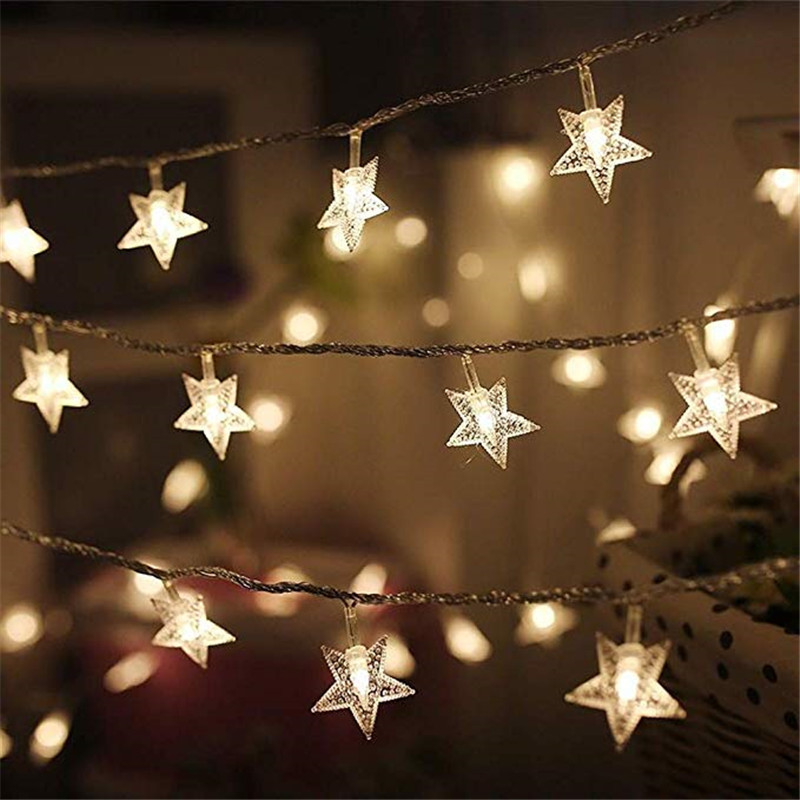 10/20/40/50 ไฟ LED Star Light String Twinkle Garlands แบตเตอรี่โคมไฟคริสต์มาสวันหยุดงานแต่งงานตกแต่งไฟ Fairy