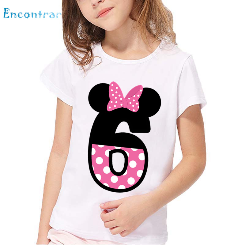 Kids Happy Birthday Letter Bow Print Funny T Shirt Boys And Girls Clothes Children Number 1 9 PresentHKP2416