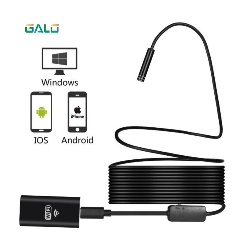 WIFI Endoscope Camera Mini Waterproof Soft Cable Inspection Camera 8mm 1M USB Endoscope Borescope IOS Endoscope For Iphone