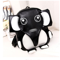 Fashion PU Black White Patchwork Bookbag Schoolbag Cartoon Animal Elephant Panda Cusual Travel Backpacks