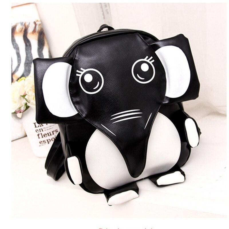 Fashion PU Black White Patchwork Bookbag Schoolbag Cartoon Animal Elephant Panda Cusual Travel Backpacks