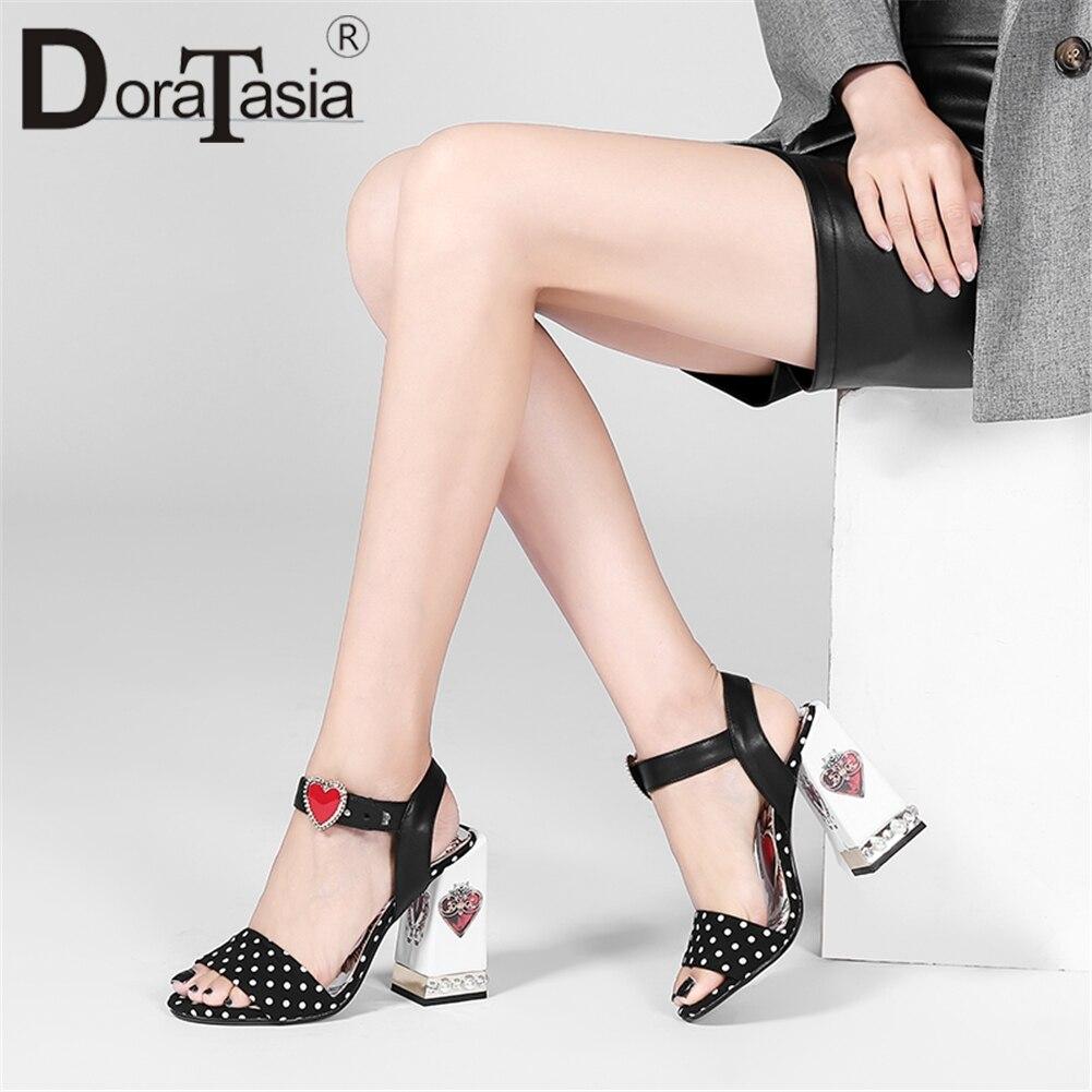 DORATASIA New Brand Genuine Leather Sandals Women 2019 Summer Large Size 34-43 Fashion Print Women High Heels Shoes Woman