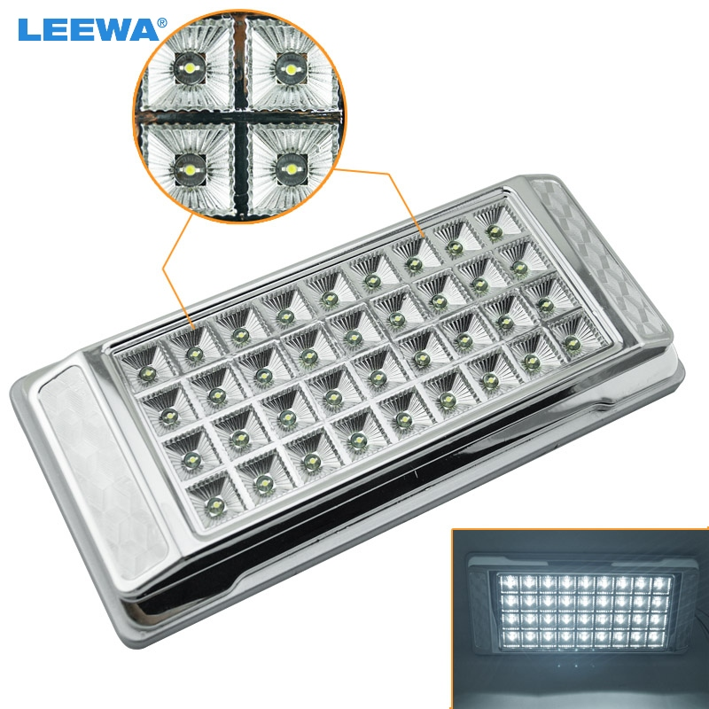 LEEWA 1PC High Quality White 36 LED Car Interior LED Lights Dome Ceiling Roof Lamp for Vehicle Auto Caravan #CA3073 partol black car roof rack cross bars roof luggage carrier cargo boxes bike rack 45kg 100lbs for honda pilot 2013 2014 2015