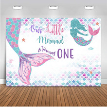 Mermaid Backdrop for Photography Happy Birthday Theme Background for Photo Booth Studio Party Decoration Poster Banner Prop