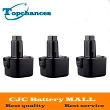 3PCS High Quality 9.6V 3.0Ah NI-MH Replacement Power Tool Battery for Dewalt DE9062  DE9036 DE9061 DW9061 DW9062