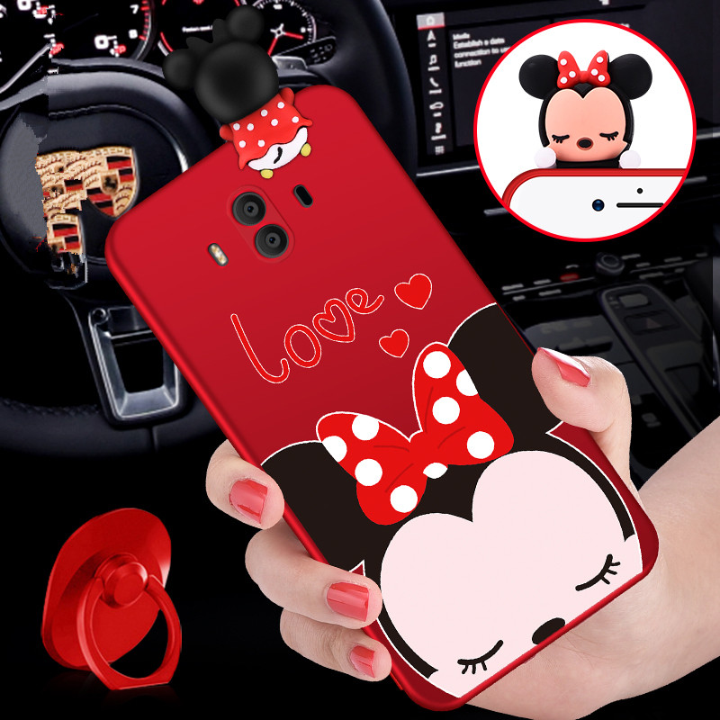 Mate 10 pro 3D Mickey Mouse Minnie phone Cases For Huawei Mate 9 / 9pro /10 /10pro Cartoon Soft silicon back cover +Ring + Strap