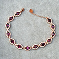 Ultra luxo piropo gemston naturais pulseira 925 sterling silver natural semi-preciosa pedra cor de rosa de ouro jóias finas