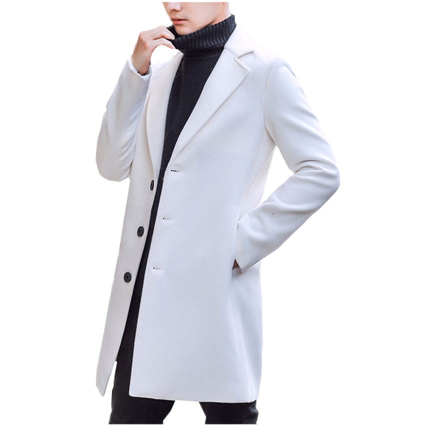 Long-Jackets Blends Business Autumn Mans Winter Casual Artificial-Wool Men 9-Color-Options