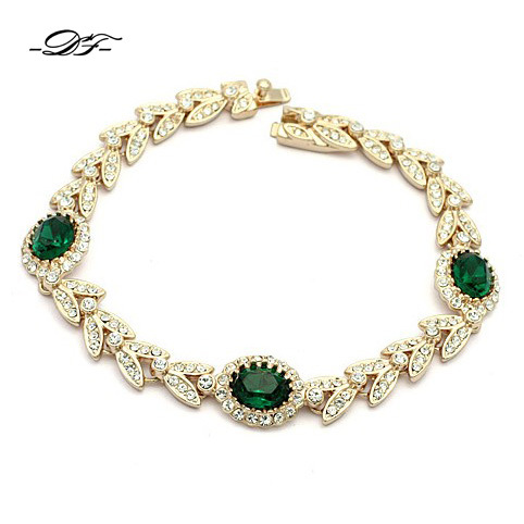 Double Fair Green Crystal Hand Chain Charm Bracelets &Bangles Rose Gold Color CZ Stone Jewelry For Women Cubic Zirconia DFH044