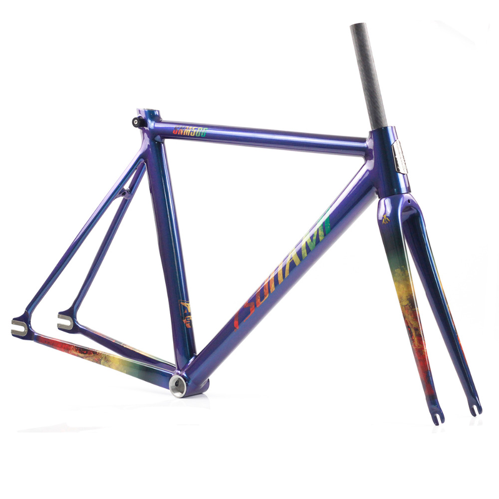 TSUNAMI Chameleon Fixed Gear Frameset Aluminium Frame with Carbon Fork 700c x 50cm 52cm 55cm High Quality Fixie Frameset 53cm 55cm 58cm fixed gear bike frame matte black bike frame fixie bicycle frame aluminum alloy frame with carbon fork