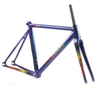 TSUNAMI Chameleon Fixed Gear Frameset Aluminium Frame with Carbon Fork 700c x 50cm 52cm 55cm High Quality Fixie Frameset