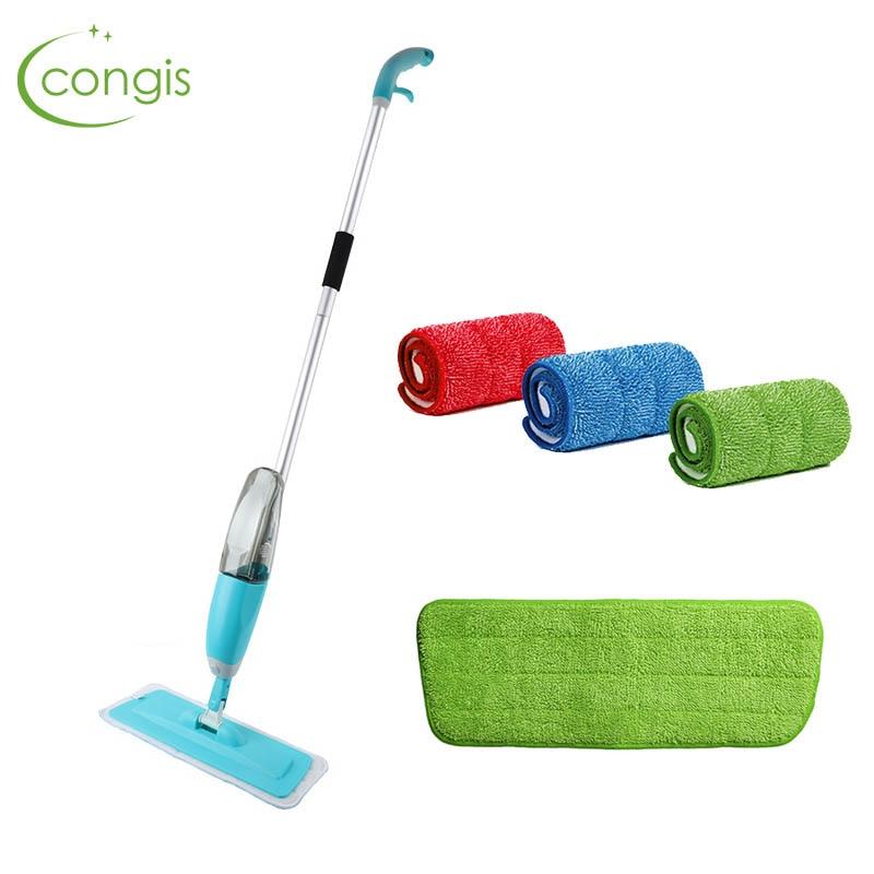 Congis Spray Mop + 3 piezas de paño de limpieza la combinación de madera suelo de baldosas de cerámica de fregona en seco casa Herramientas de limpieza