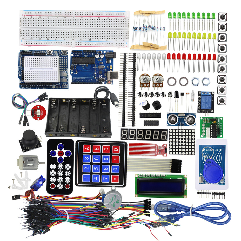 Starter Kit Uno R3 Breadboard and Holder Step Motor / Servo /1602 LCD / Jumper Wire/ UNO R3 for arduino Compatible with UNO R3