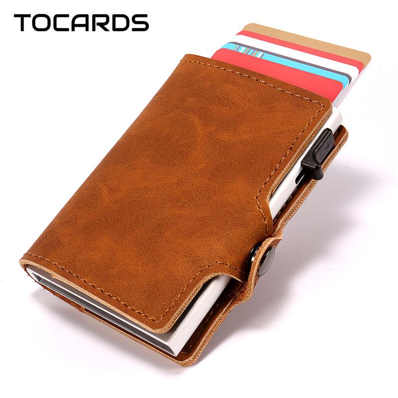 RFID 2018 New Vintage Credit Card Holder Men Aluminum Alloy Metal Business ID Leather Cardholder Multifunction Slim Wallet Purse