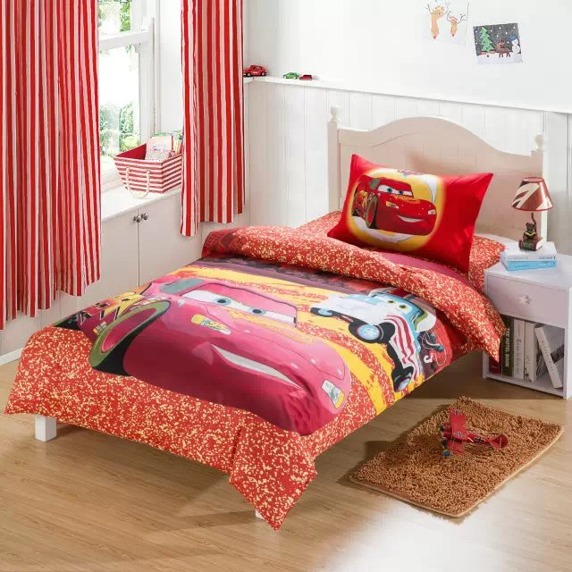 red cars cartoon comforter bedding sets single twin size bed duvet covers bedclothes cotton childrens boys