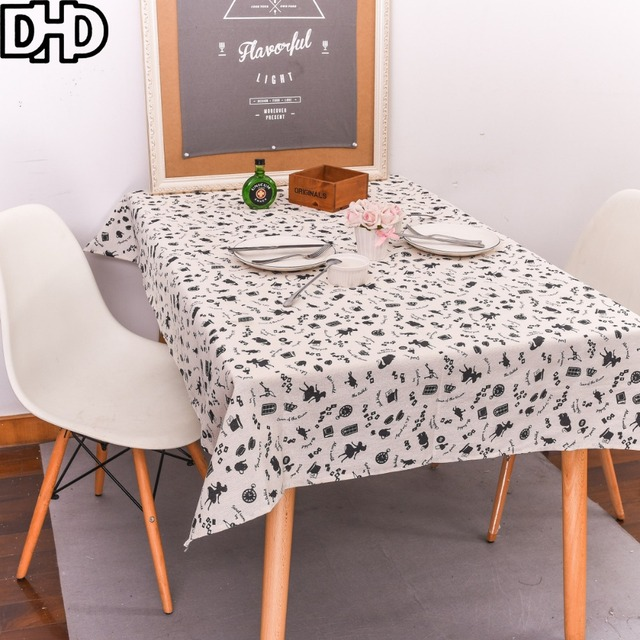 DHD Cartoon Tablecloth Cotton Linen Japanese Tablecloth Party Rectangular  Dinner Table Cloth For Home Decoration Tea