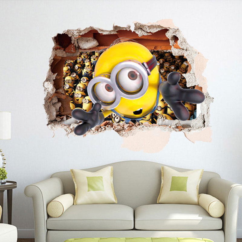 Creative Home Decor 3D Wall Stickers Cute Minions Pattern For Baby Room Mural Art Decal Large Size Wallpaper 60*90 CM