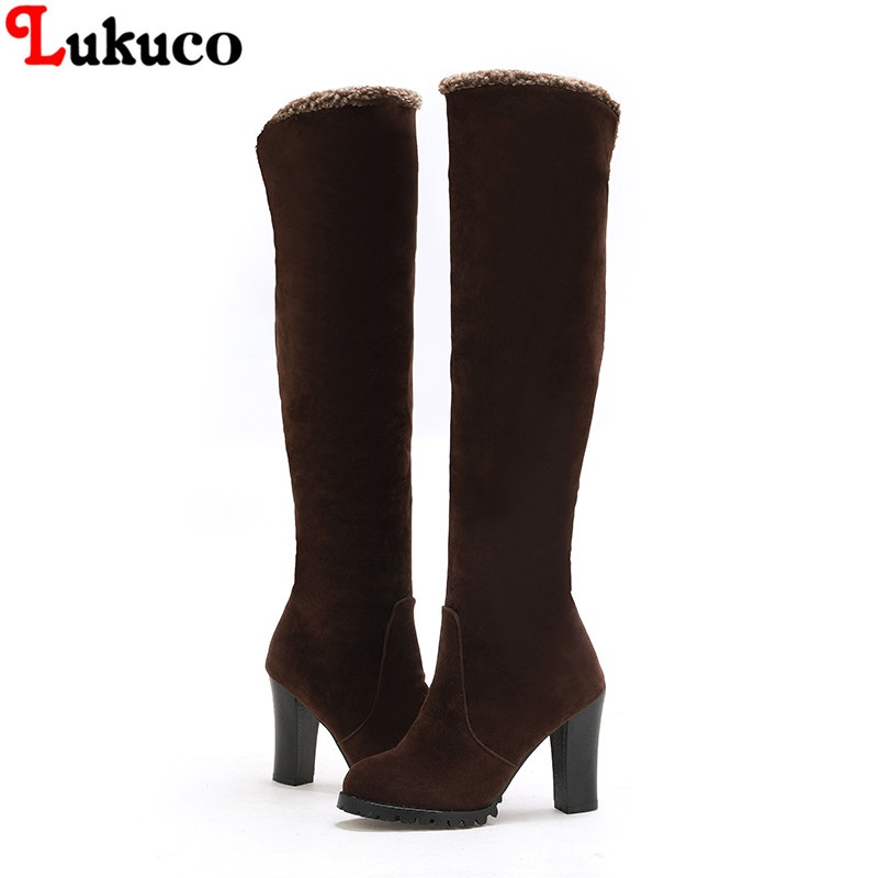 Lukuco New Sweet Snow Boot Large Size 43 44 45 46 47 48 Winter Plush Boots Knee High Women Botas Handmade Warm Plush Shoes Woman 2019 lukuco winter warm plush women boots oversize 38 39 40 41 42 43 44 45 46 high quality botas custom handmade pu lady shoes