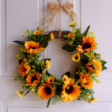 Artificial Wreath Sunflower Flower with Yellow and Green Leaves for Front Door Wall Wedding Home Decoration