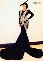Glisten Crystals Rompers Big Leggings Costume Black Mash Perspective Outfit Bodysuit Nightclub Rompers Female Singer