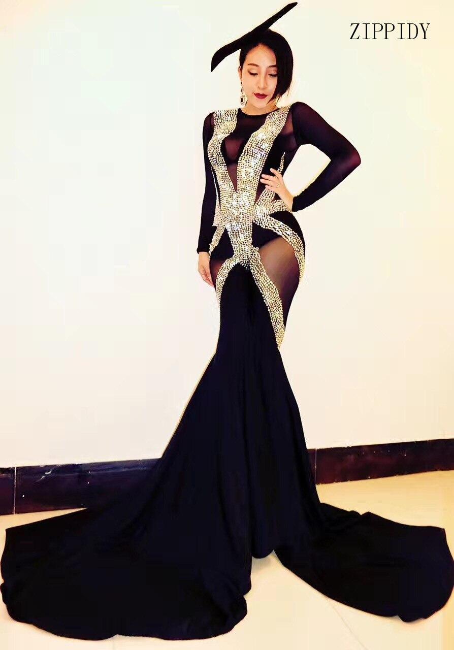 Glisten Crystals Rompers Big Leggings Costume Black Mash Perspective Outfit Bodysuit Nightclub Rompers Female Singer Stage Wear
