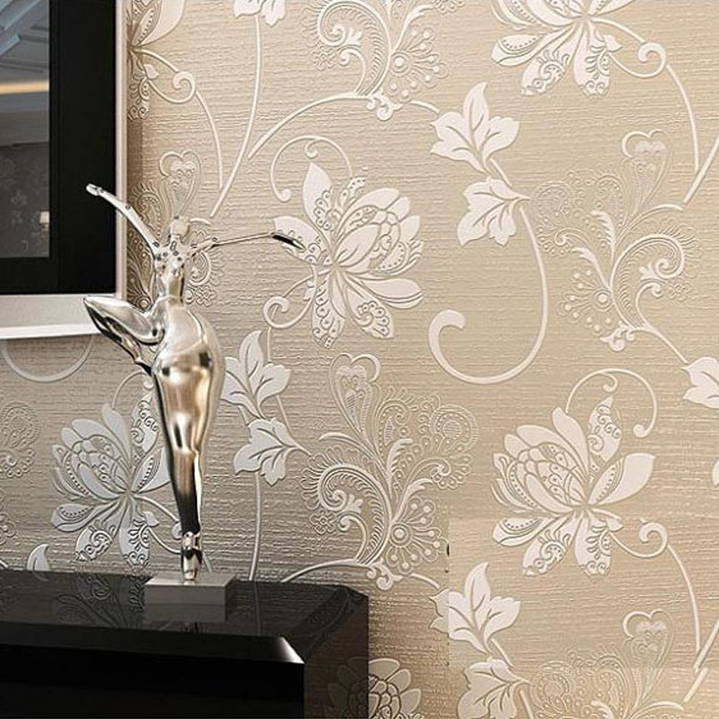 Modern Non-woven Floral Wallpaper Flower 3D Embossed Texture For Bedroom Living Room TV Sofa Background Wall Decor Covering modern minimalist embossed silver gray non woven wavy wallpaper living room bedroom sofa background for walls striped wallpaper
