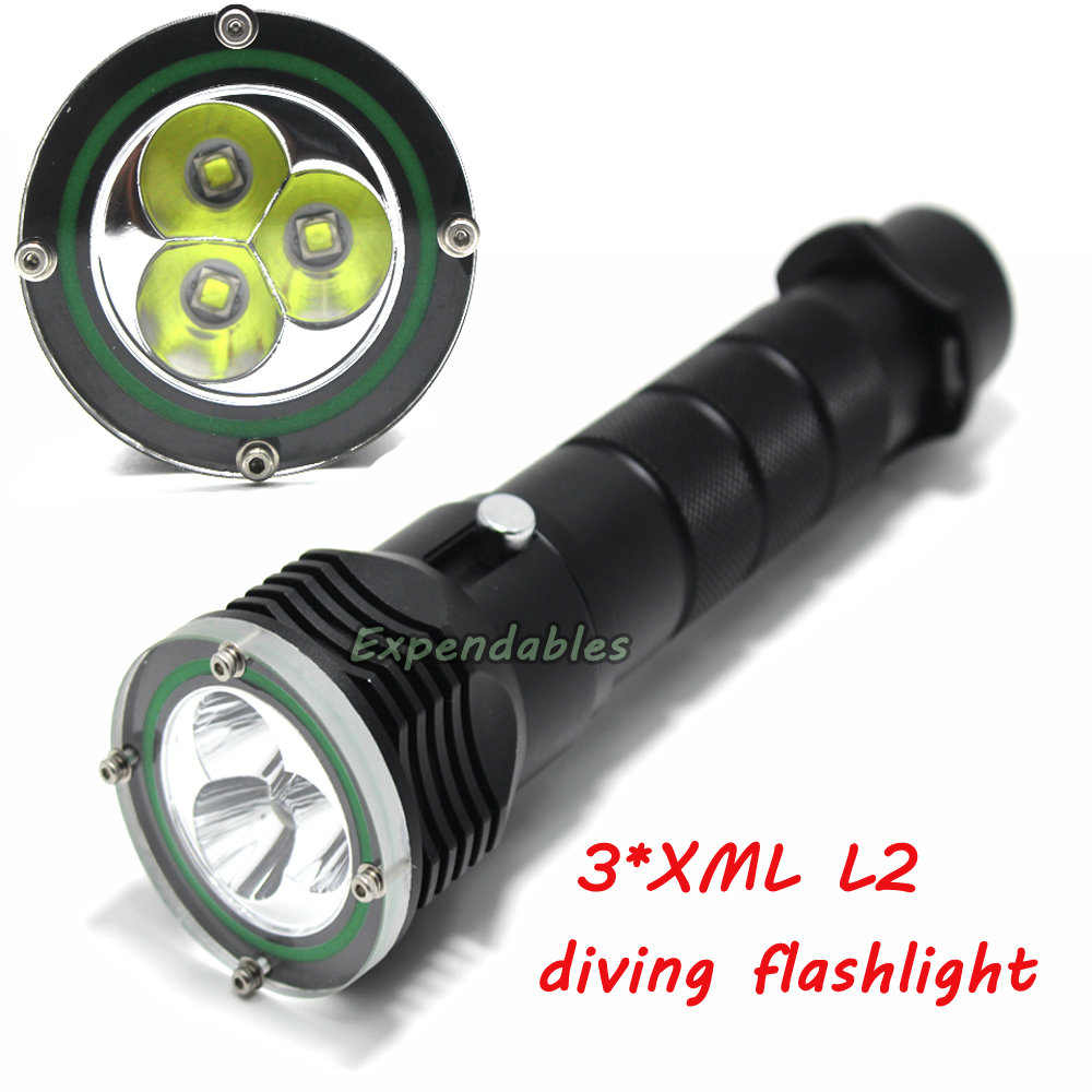 ФОТО 5000Lumens High power diving flashlight 3pcs L2 LED Flashlight diving light 100M waterproof dive torch