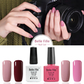 Belle Fille Nude Gel Nail Fingernail Polish Rose Red Wine Varnish for French Manicure Varnish Soak Off Yellow Color Gold UV Gel