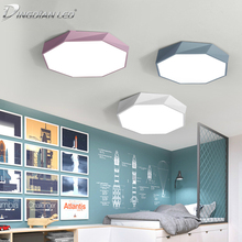 LED Ceiling Lights Tricolor Dimming Polygon Light 18W 24W 36W 42W Macaron Color Lamp Acrylic Dimmable  for Bedroom