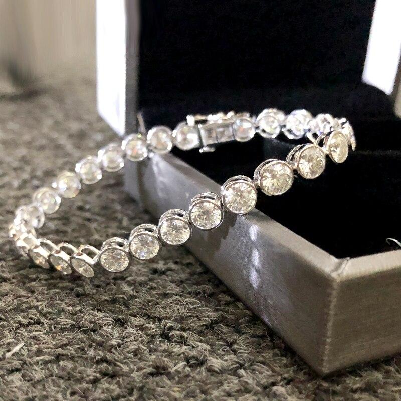 AEAW Lovely 6ctw Solid 14Kt White Gold DF 3.5mm Zircon Lab Diamond Wedding Bezel Bracelet for Women Birthday Fine Jewelry Gift