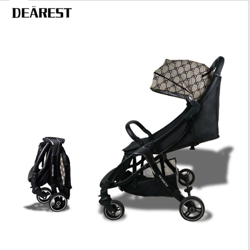 DEAREST baby stroller folding portable trolley Eco-leather stroller on the plane Automatic car collection umberlla mini lightwei