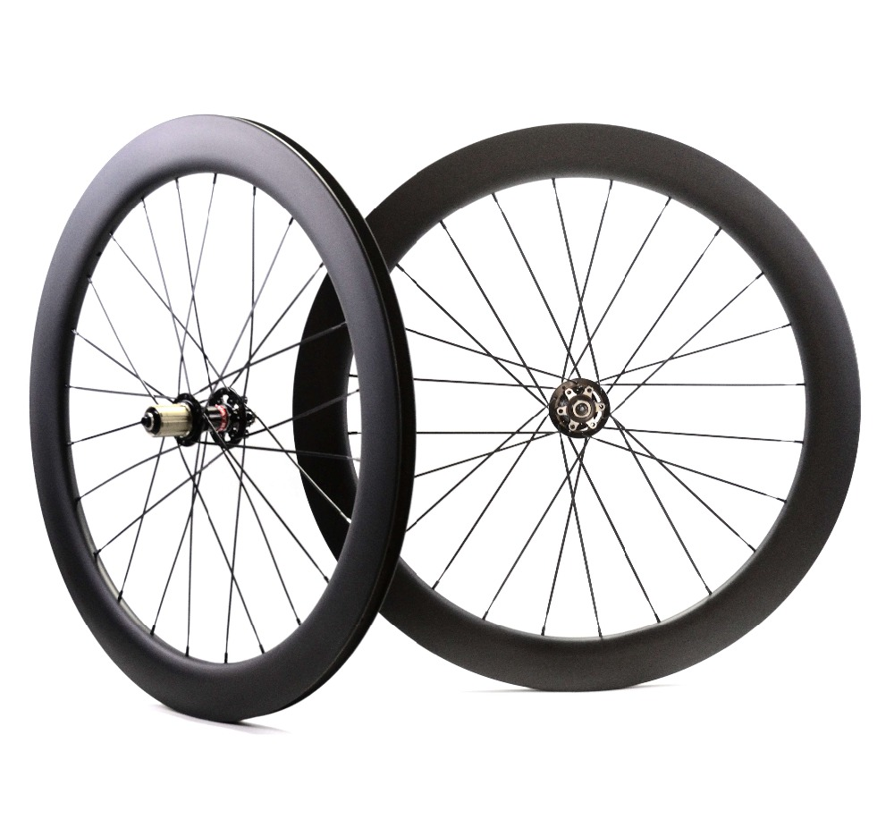 цена на 700C 60mm depth disc brake carbon wheels 23mm width Clincher/Tubular Road Disc Cyclocross Bicycle Carbon Wheelset U-shape rim