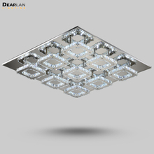 Modern Rectangle Square LED Crystal Ceiling Light Fitting Luxurious Lamp Lustre Luminaire for Living Room Foyer Hotel