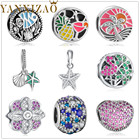 Yanxizao Sterling Silver 925 European CZ Beads Fit Pandora Animal Star Shaped Accessories Colorful DIY Jewelry Originals xin1