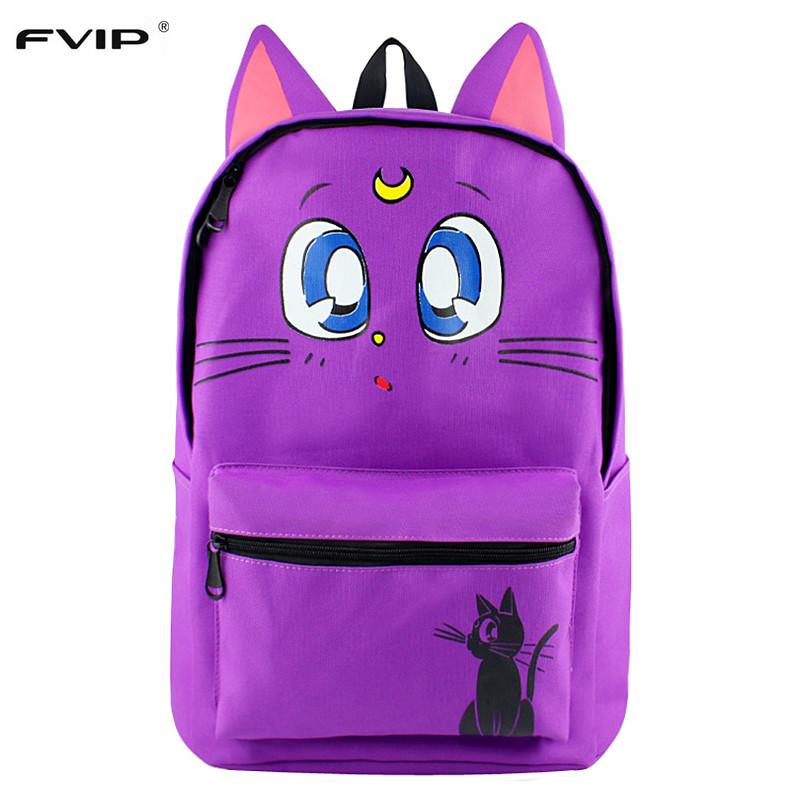 Fvip Luna Cat Backpack For Young Lady Cute Cat Ear Backpacks For Teenage Girl Travel Sailor Moon Canvas Backpack Mochila