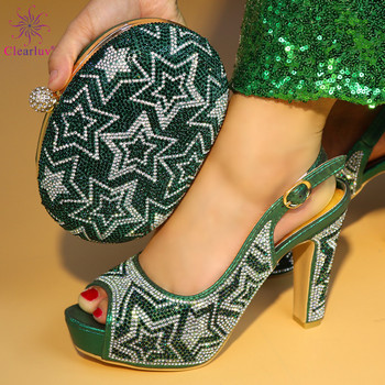 2018 New Green Color Italian Shoes with Matching Bags Women Italian African Party Pumps Shoes and Bag Set
