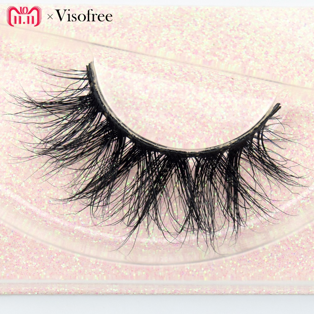 Visofree Mink Eyelashes 100% Cruelty free Handmade 3D Mink Lashes Full Strip Lashes Soft False Eyelashes Makeup  Lashes E11 цена