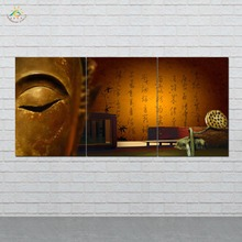 3 Pieces/set Golden Buddha Wall Art HD Printed Canvas Painting Modern Pictures Home Decoration for Living Room
