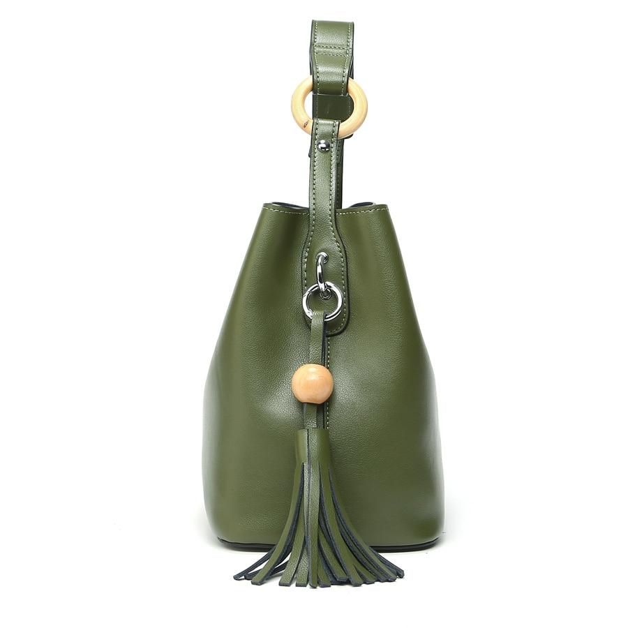 2018 ESUFEIR Marke 100% Echtem Leder Frauen Handtasche Mode Design Schulter Tasche Weiblichen Quaste Bucket Tote Bag Umhängetasche-in Taschen mit Griff oben aus Gepäck & Taschen bei  Gruppe 3