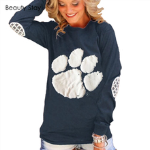 BeautyStay 2017 Spring Fashion Bear Paw Print Sweatshirt Women Cotton Casual Hoodies Full Sleeve Plus Size Tracksuits Pullover
