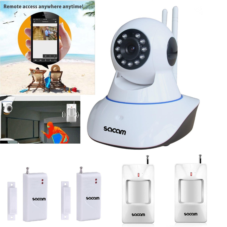 ФОТО SACAM Wireless 720P IP Camera WiFi Alarm System Home Burglar Door Security PIR Sensors Network Video Surveillance Intruder Kit