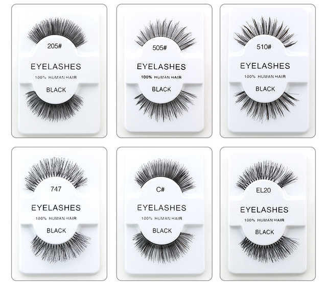 Genailish Natural False Eyelashes 100 Human Hair Eyelashes Makeup