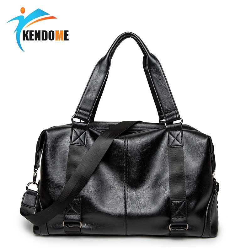 Top PU Leather Men's Sports Bag Multifunction Fitness Training Travel Shoulder Handbags Hidden Zipper Gym Bags For Male