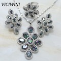 Viciwini Rainbow Mystic White Crystal Plated Silver 925 Mark Overlay Jewelry Sets Earrings Pendant Ring  -S189