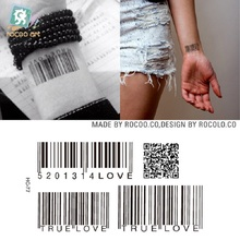2 Pcs Special Offer Waterproof Tattoo Of Male And Female Small Fresh Wrist Custom Hc1077 Two-dimensional Code Pattern
