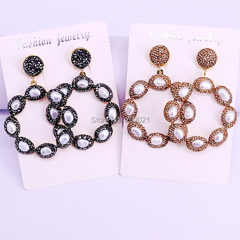5Pairs Bohemia Fashion Metal Round Flower Earrings Paved Rhinestone and Pearl Dangle Earrings For Wedding Party