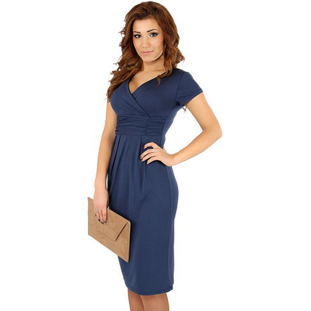 FEIBUSHI Summer Dress Women Big Size Short Sleeve V neck Work Office Slim  Casual Bodycon Pencil Dress Plus Size Dress eba9123c52ef