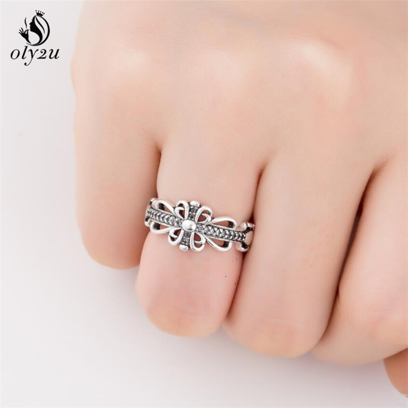 Oly2u Silver Jewelry Thai Silver Crown Flower Hollow Open Female Accessories Ring Engagement rings for women SYJZ172