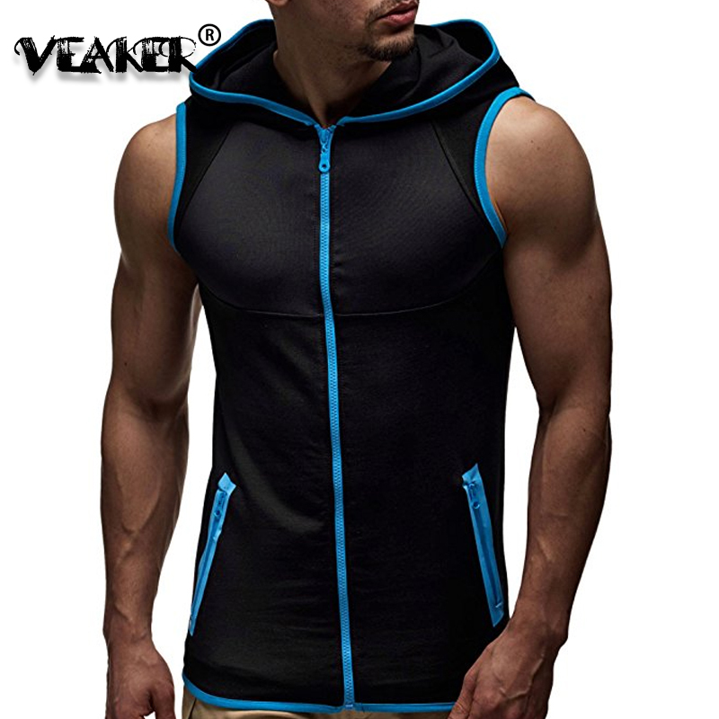2018 New Hot Mens Fitness Sleeveless Hoodies Sweatshirts Male Gyms Zipper Hooded   Tank     Top   Men bodybuilding   tank     tops